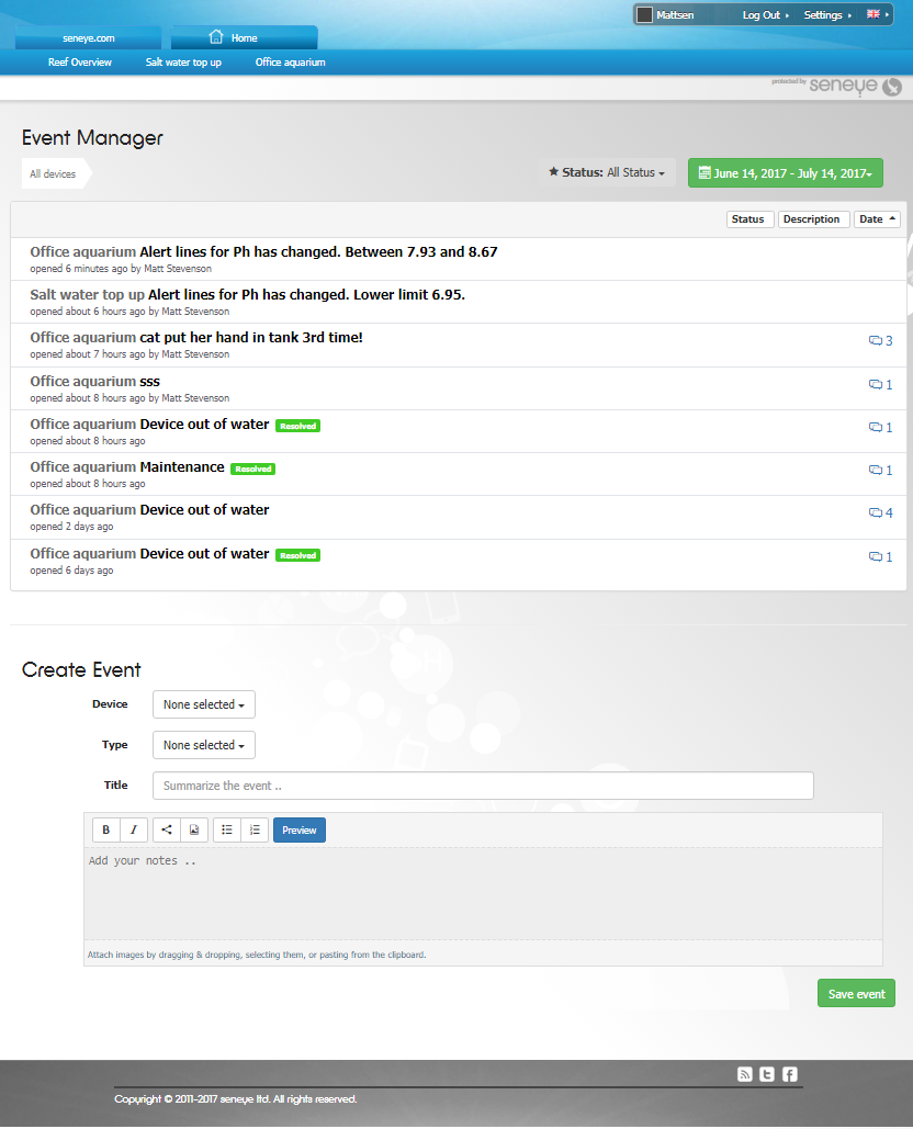 seneye aquarium and pond event manager add an event manually.png